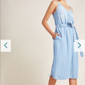Anthro CLOTH AND STONE chambray surplice dress